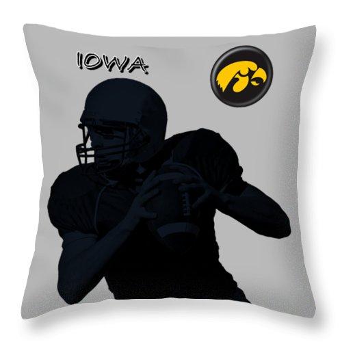 Football Throw Pillow featuring the digital art Iowa Football by David Dehner