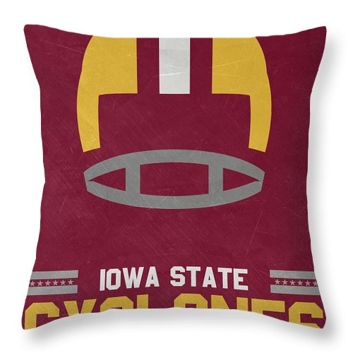 Cyclones Throw Pillow featuring the mixed media Iowa State Cyclones Vintage Football Art by Joe Hamilton