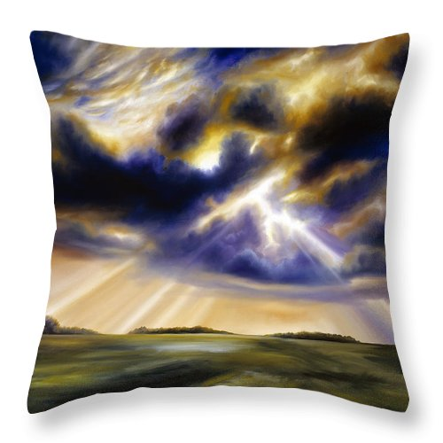 Sunrise; Sunset; Power; Glory; Cloudscape; Skyscape; Purple; Red; Blue; Stunning; Landscape; James C. Hill; James Christopher Hill; Jameshillgallery.com; Ocean; Lakes; Storms; Lightning; Rain; Rays; God Throw Pillow featuring the painting Iowa Storms by James Christopher Hill