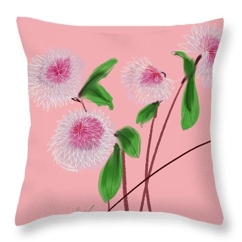 Floral Throw Pillow featuring the digital art Dear Dahlia's by Bonny Butler