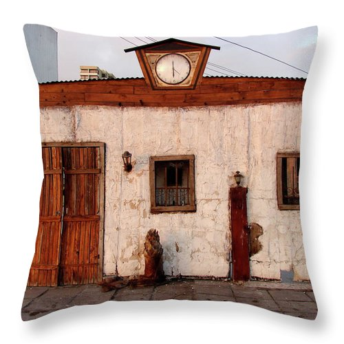Iquique Throw Pillow featuring the photograph Iquique Chile Cantina by Brett Winn