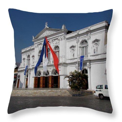 Iquique Throw Pillow featuring the photograph Iquique Chile Courtyard by Brett Winn
