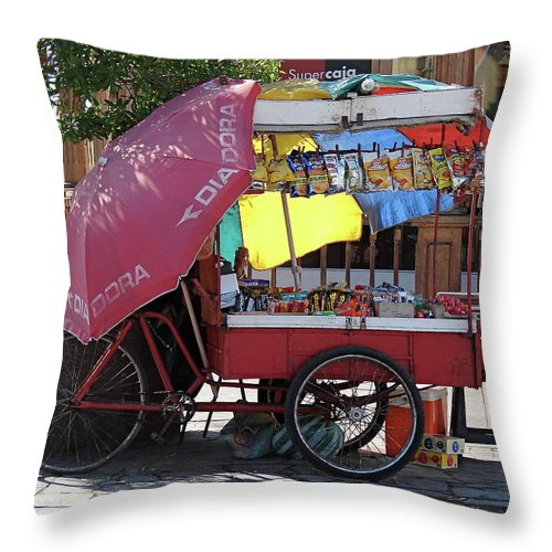 Iquique Throw Pillow featuring the photograph Iquique Chile Street Cart by Brett Winn