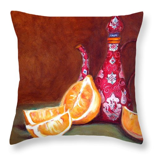 Lemons Throw Pillow featuring the painting Iranian Lemons by Enzie Shahmiri
