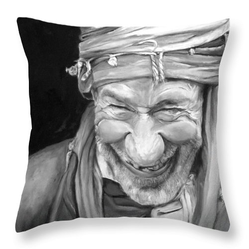 Man Throw Pillow featuring the painting Iranian Man by Portraits By NC