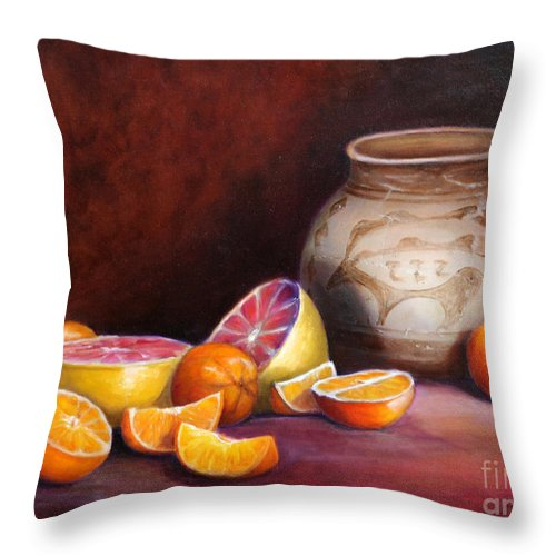 Still Life Paintings Throw Pillow featuring the painting Iranian Still Life by Portraits By NC