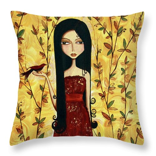 Girl Throw Pillow featuring the painting Iridescent Heart by Debbie Horton