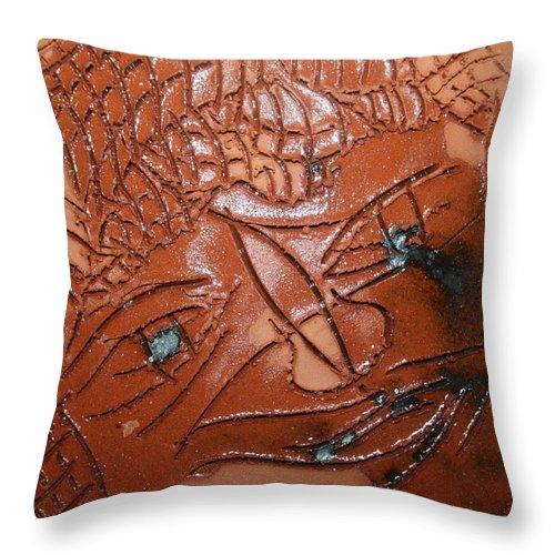 Jesus Throw Pillow featuring the ceramic art Irina -tile by Gloria Ssali