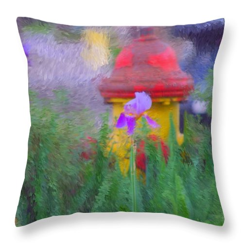 Digital Photo Throw Pillow featuring the photograph Iris And Fire Plug by David Lane