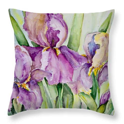 Watercolor Flowers Throw Pillow featuring the painting Iris Beauties by Carolyn Bell