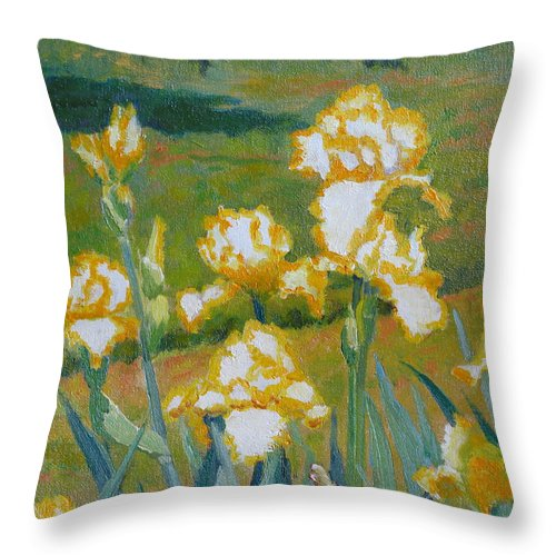 Impressionism Throw Pillow featuring the painting Iris Etude by Keith Burgess
