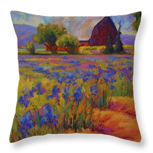 Pastel Throw Pillow featuring the painting Iris Field by Marion Rose