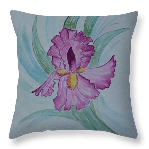 Iris Throw Pillow featuring the painting Iris In Lavender by Nancy Nuce