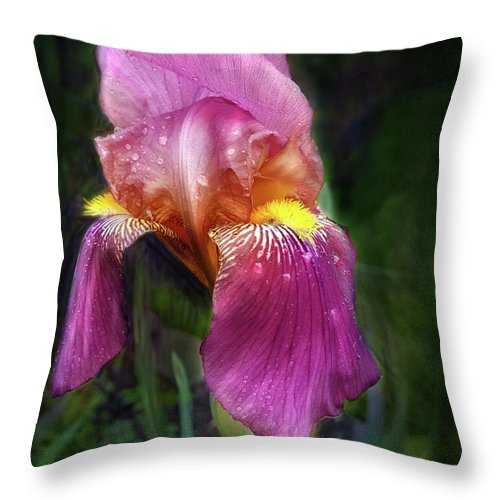 Iris Throw Pillow featuring the digital art Iris In The Pink by Faye English