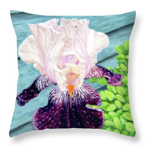 Iris Throw Pillow featuring the painting Iris In The Spring Rain by Vicki VanDeBerghe