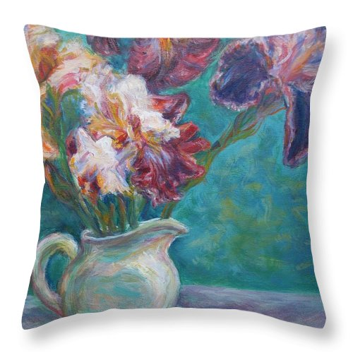 Impressionist Throw Pillow featuring the painting Iris Medley - Original Impressionist Painting by Quin Sweetman