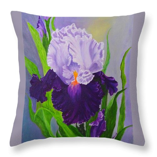 Floral Painting Throw Pillow featuring the painting Iris by Peggy Holcroft