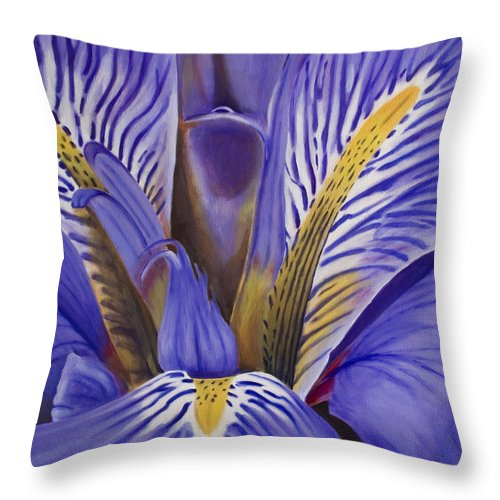 Flower Throw Pillow featuring the painting Iris by Rob De Vries