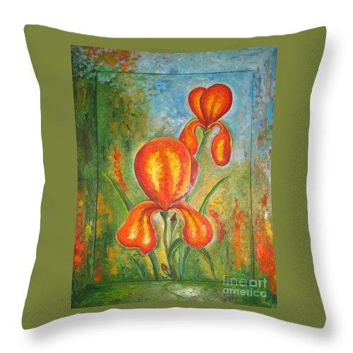 Iris Throw Pillow featuring the painting Iris by Stella Velka