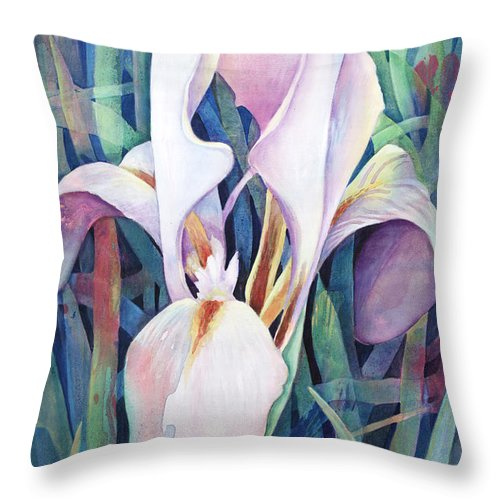 Fine Art America Flower Paintings Throw Pillow featuring the painting Iris by Susanne Clark