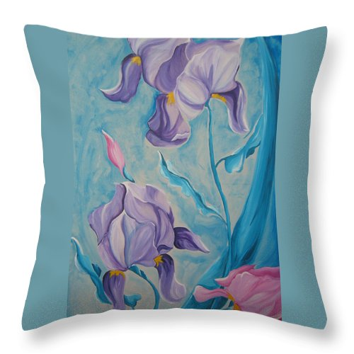 Flowers Throw Pillow featuring the painting Iris by V Boge