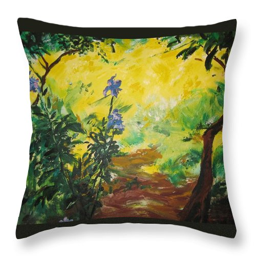 Sunlight Throw Pillow featuring the painting Irises And Sunlight by Lizzy Forrester