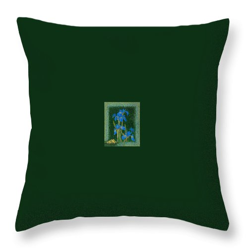 Irises Throw Pillow featuring the painting Irises Blue Flowers Lucky Love Frog Friends Fine Art Print Giclee High Quality Exceptional Colors by Baslee Troutman