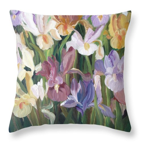 Irises Throw Pillow featuring the painting Irises by Gina De Gorna