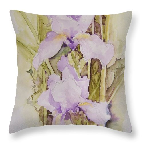 Irises Throw Pillow featuring the painting Irises by Jackie Mueller-Jones