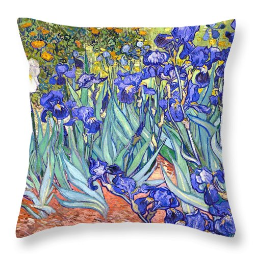 Van Gogh Throw Pillow featuring the painting Irises by Van Gogh