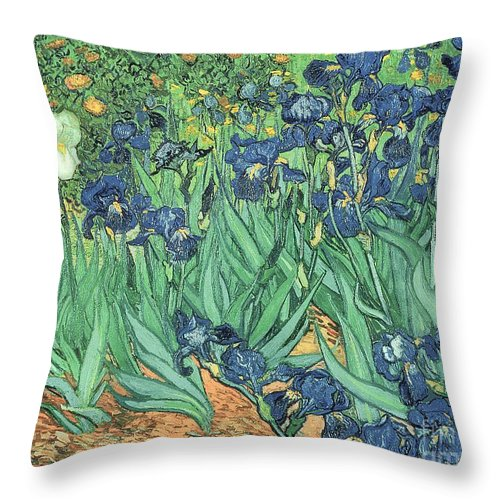 Irises Throw Pillow featuring the painting Irises by Vincent Van Gogh by Vincent Van Gogh