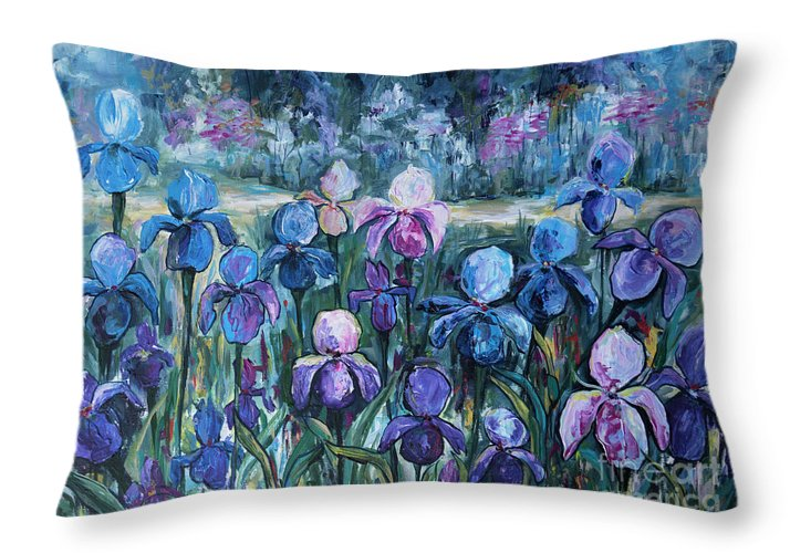 Irises Throw Pillow featuring the painting Irises by Yana Sadykova