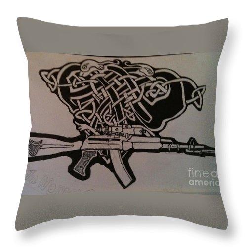 Ira Drawings Throw Pillow featuring the drawing Irish Ak-74 by Brett Genda