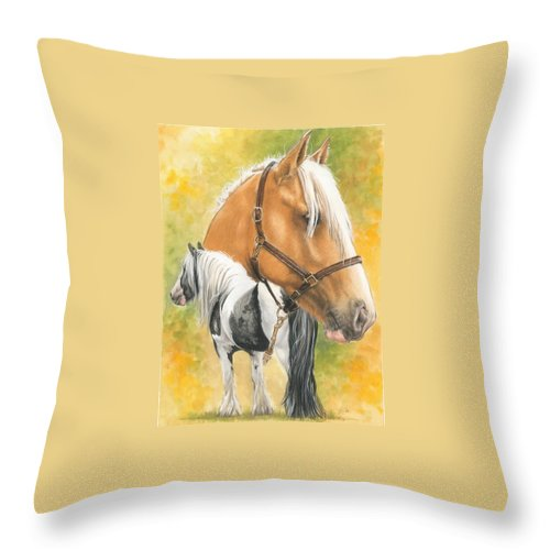 Draft Horse Throw Pillow featuring the mixed media Irish Cob by Barbara Keith