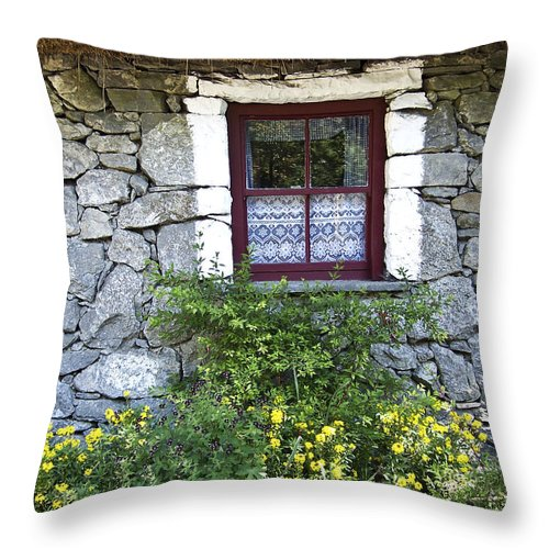 Irish Throw Pillow featuring the photograph Irish Cottage Window County Clare Ireland by Teresa Mucha