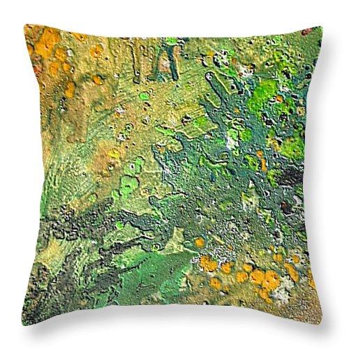 Irish Moos Throw Pillow featuring the painting Irish Moos by Dragica Micki Fortuna
