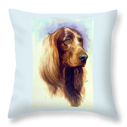 Sporting Group Throw Pillow featuring the painting Irish Setter by Barbara Keith