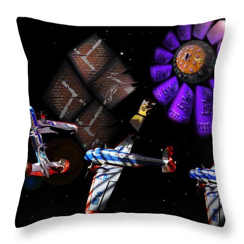 Outer Space Throw Pillow featuring the digital art Iron In The Sky by Charles Stuart