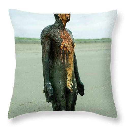 6x4 Throw Pillow featuring the photograph Iron Man Front, Crosby Beach Liverpool by Jacek Wojnarowski