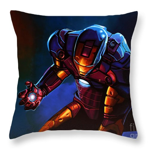 Iron Man Throw Pillow featuring the painting Iron Man by Paul Meijering