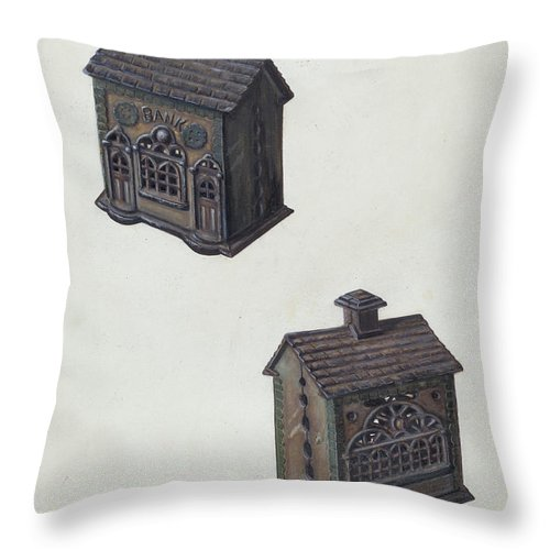 "Throw Pillow featuring the drawing Iron ""bank"" Bank by Clementine Fossek"
