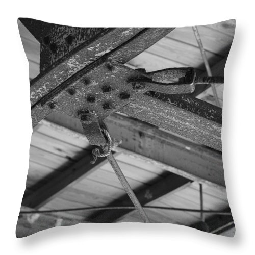 Black And White Throw Pillow featuring the photograph Iron Roof by Rob Hans