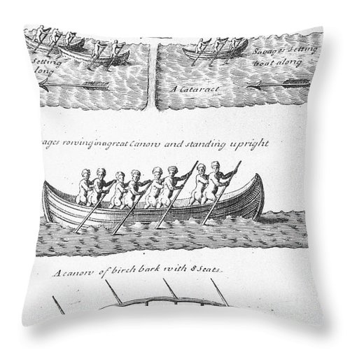 18th Century Throw Pillow featuring the photograph Iroquois Canoes by Granger