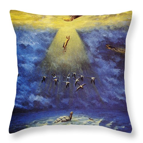 America Throw Pillow featuring the photograph Iroquois Creation Myth by Granger