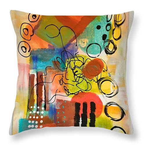 Mixed Media Throw Pillow featuring the painting Irresistable by Suzzanna Frank