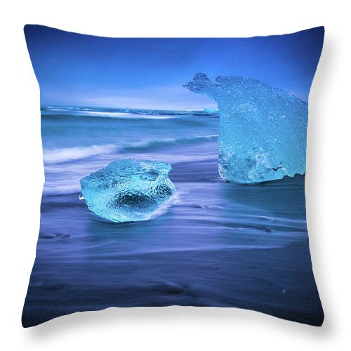 Iceland Throw Pillow featuring the photograph Irridescent Jokulsarlon Blue Ice by Mike Reid