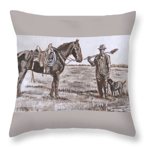 Historical Throw Pillow featuring the painting Irrigating The Hay Meadows Historical Vignette by Dawn Senior-Trask