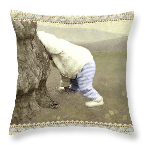 Throw Pillow featuring the photograph Is Bunny Behind Tree? by Adele Aron Greenspun