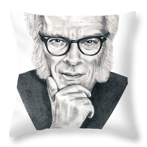 Portrait Throw Pillow featuring the drawing Isaac Asimov by Murphy Elliott