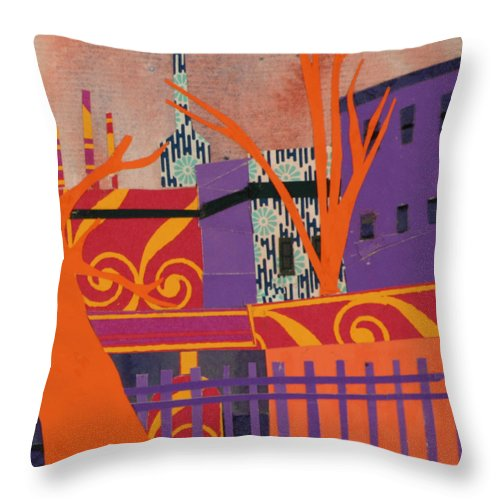 Boston Throw Pillow featuring the mixed media Isabella's Garden by Debra Bretton Robinson